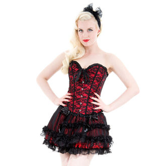 corset women's HEARTS AND ROSES - Red With Black Net