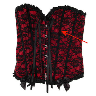 corset women's HEARTS AND ROSES - Red With Black Net - DAMAGED, HEARTS AND ROSES