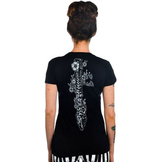 t-shirt gothic and punk women's - Flower Spine - TOO FAST - Black
