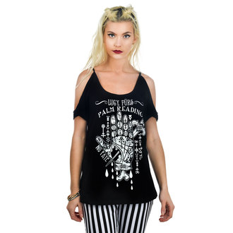 t-shirt gothic and punk women's - Lucy Furs Palm Read - TOO FAST - Black