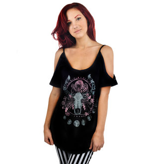 t-shirt gothic and punk women's - Cosmic Cow - TOO FAST - Black