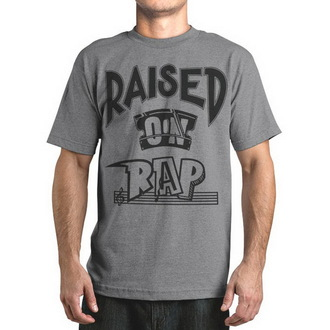 t-shirt street men's - Raised On Rap - FAMOUS STARS & STRAPS - Grey