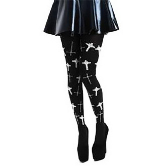 tights PAMELA MANN - Flocked Goth Crosses - Black - PM256