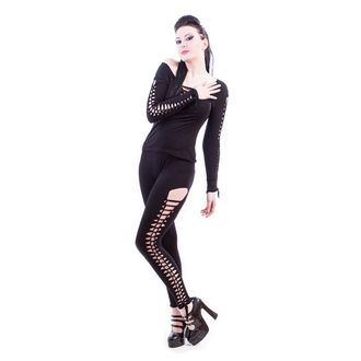 pants women (leggings) NECESSARY EVIL - Terra Slashed - Black - N1198