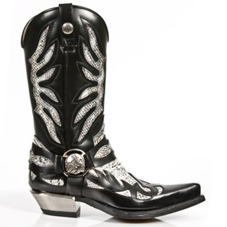 leather boots women's - PITON BLANCO NEGR WEST - NEW ROCK - M.7991-S1