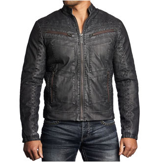 men jacket spring/fall AFFLICTION - Two Pistons - BK, AFFLICTION