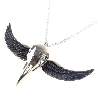 Collar ETNOX - Winged Crow Skull - Silver, ETNOX