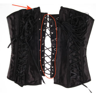 corset women's HEARTS AND ROSES - Black Satin - DAMAGED, HEARTS AND ROSES