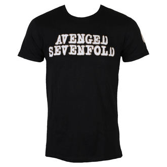t-shirt metal men's Avenged Sevenfold - Logo & Deathbat Applique - ROCK OFF, ROCK OFF, Avenged Sevenfold