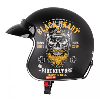 Helmet BLACK HEART - KUSTOM RIDE - BLACK, BLACK HEART
