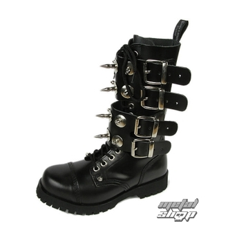 leather boots women's - Scare 4-buckles - BOOTS & BRACES - ČERNÉ - 601404