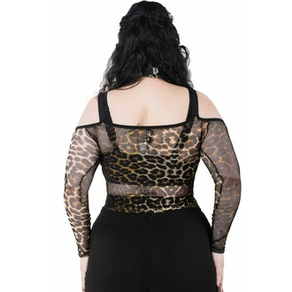 Women's t-shirt with long sleeves (top) KILLSTAR - Catitude Fishnet - LEO, KILLSTAR