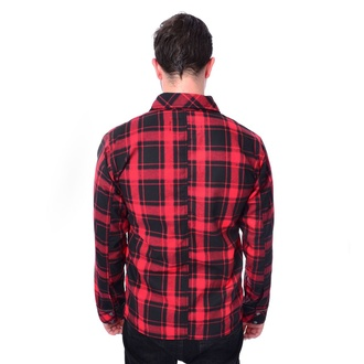 Men's shirt Chemical Black - EZRA - RED CHECK, CHEMICAL BLACK