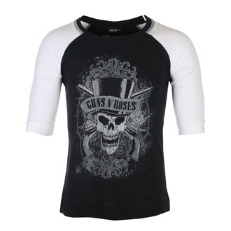 Unisex t-shirt with 3/4 sleeve Guns N' Roses - Faded Skull - BL / WHT Raglan - ROCK OFF, ROCK OFF, Guns N' Roses