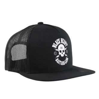 Cap BLACK HEART - BASTARD SKULL - WHITE, BLACK HEART