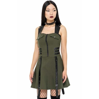 Women's dress KILLSTAR - Psy-Ops - KHAKI - KSRA002422