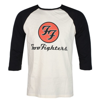 Men's shirt with 3/4 sleeves FOO FIGHTERS - RED CIRCULAR LOGO - ECRU / BLACK - GOT TO HAVE IT, GOT TO HAVE IT, Foo Fighters