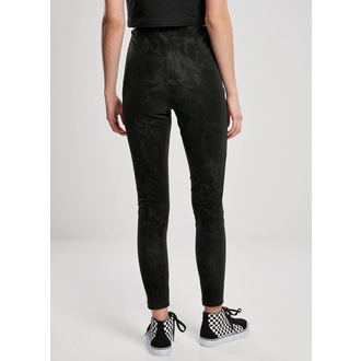 Women's trousers URBAN CLASSICS - Washed Faux Leather Pants - black, URBAN CLASSICS
