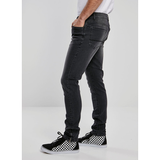 Men's pants URBAN CLASSICS - Slim Fit Zip Jeans - real black washed, URBAN CLASSICS
