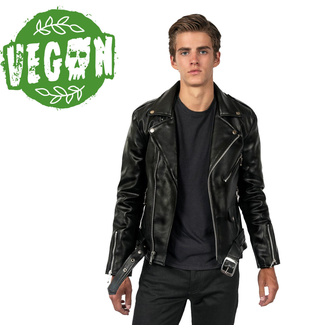 Men's leather jacket  STRAIGHT TO HELL - Vegan Commando II - 51