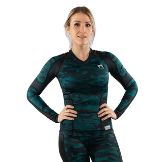 Women's t-shirt with long sleeves (thermal) VENUM - Defender - Rashguard - Black / Green - VENUM-03827-102
